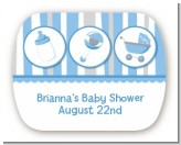 Shake, Rattle & Roll Blue - Personalized Baby Shower Rounded Corner Stickers