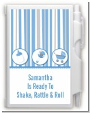 Shake, Rattle & Roll Blue - Baby Shower Personalized Notebook Favor
