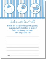 Shake, Rattle & Roll Blue - Baby Shower Notes of Advice