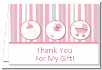 Shake, Rattle & Roll Pink - Baby Shower Thank You Cards