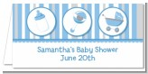 Shake, Rattle & Roll Blue - Personalized Baby Shower Place Cards
