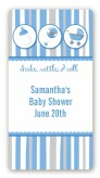 Shake, Rattle & Roll Blue - Custom Rectangle Baby Shower Sticker/Labels