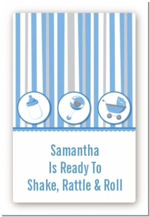Shake, Rattle & Roll Blue - Custom Large Rectangle Baby Shower Sticker/Labels