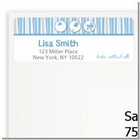 Shake, Rattle & Roll Blue - Baby Shower Return Address Labels