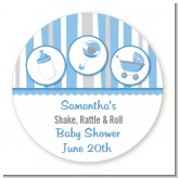 Shake, Rattle & Roll Blue - Round Personalized Baby Shower Sticker Labels