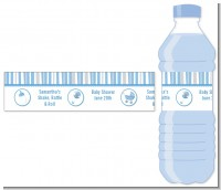 Shake, Rattle & Roll Blue - Personalized Baby Shower Water Bottle Labels