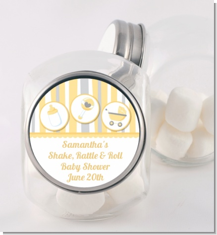 Shake, Rattle & Roll Yellow - Personalized Baby Shower Candy Jar