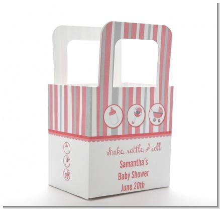 Shake, Rattle & Roll Pink - Personalized Baby Shower Favor Boxes