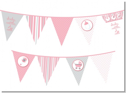 Shake, Rattle & Roll Pink - Baby Shower Themed Pennant Set