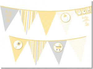 Shake, Rattle & Roll Yellow - Baby Shower Themed Pennant Set