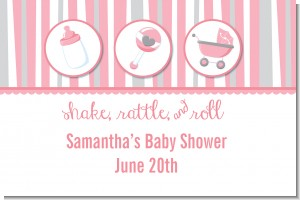 Shake, Rattle & Roll Pink - Personalized Baby Shower Placemats
