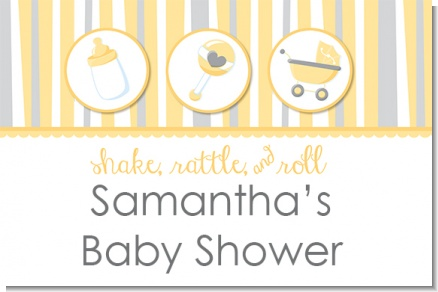 Shake, Rattle & Roll Yellow - Personalized Baby Shower Placemats
