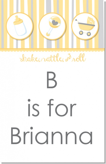 Shake, Rattle & Roll Yellow - Personalized Baby Shower Nursery Wall Art