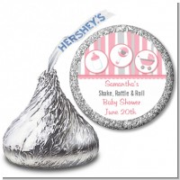 Shake, Rattle & Roll Pink - Hershey Kiss Baby Shower Sticker Labels