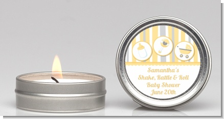 Shake, Rattle & Roll Yellow - Baby Shower Candle Favors