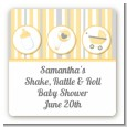 Shake, Rattle & Roll Yellow - Square Personalized Baby Shower Sticker Labels thumbnail