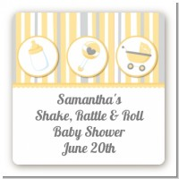Shake, Rattle & Roll Yellow - Square Personalized Baby Shower Sticker Labels