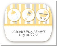 Shake, Rattle & Roll Yellow - Personalized Baby Shower Rounded Corner Stickers