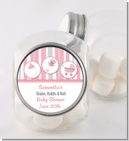 Shake, Rattle & Roll Pink - Personalized Baby Shower Candy Jar
