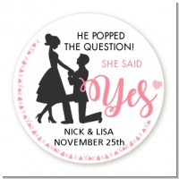 She Said Yes - Round Personalized Bridal Shower Sticker Labels