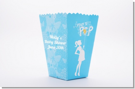 She's Ready To Pop Blue - Personalized Baby Shower Popcorn Boxes