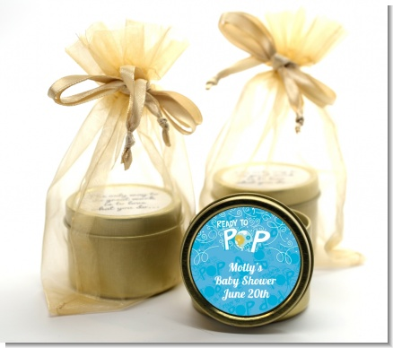 She's Ready To Pop Blue - Baby Shower Gold Tin Candle Favors