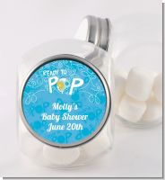 She's Ready To Pop Blue - Personalized Baby Shower Candy Jar