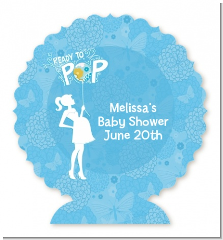She's Ready To Pop Blue - Personalized Baby Shower Centerpiece Stand