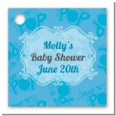 She's Ready To Pop Blue - Personalized Baby Shower Card Stock Favor Tags