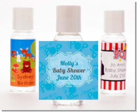She's Ready To Pop Blue - Personalized Baby Shower Hand Sanitizers Favors
