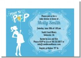 She's Ready To Pop Blue - Baby Shower Petite Invitations