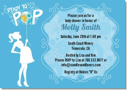 She's Ready To Pop Blue - Baby Shower Invitations