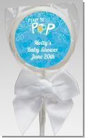 She's Ready To Pop Blue - Personalized Baby Shower Lollipop Favors