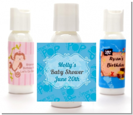 She's Ready To Pop Blue - Personalized Baby Shower Lotion Favors