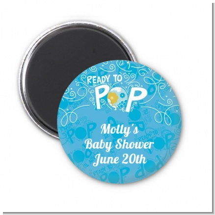 She's Ready To Pop Blue - Personalized Baby Shower Magnet Favors
