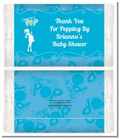 She's Ready To Pop Blue - Personalized Popcorn Wrapper Baby Shower Favors