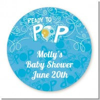 She's Ready To Pop Blue - Round Personalized Baby Shower Sticker Labels