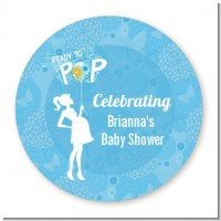 She's Ready To Pop Blue - Personalized Baby Shower Table Confetti