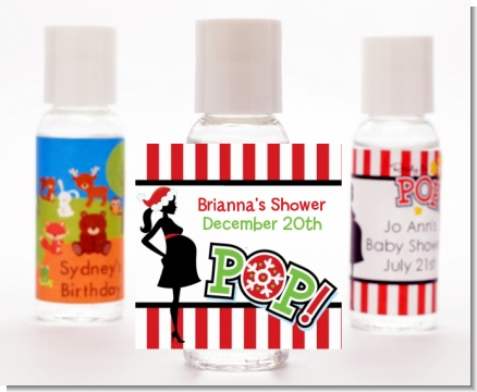 She's Ready To Pop Christmas Edition - Personalized Baby Shower Hand Sanitizers Favors
