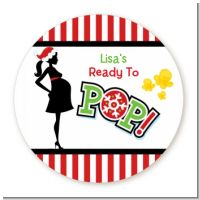She's Ready To Pop Christmas Edition - Round Personalized Baby Shower Sticker Labels