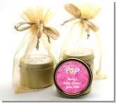 She's Ready To Pop Pink - Baby Shower Gold Tin Candle Favors
