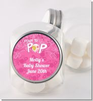 She's Ready To Pop Pink - Personalized Baby Shower Candy Jar