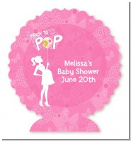 She's Ready To Pop Pink - Personalized Baby Shower Centerpiece Stand