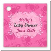 She's Ready To Pop Pink - Personalized Baby Shower Card Stock Favor Tags