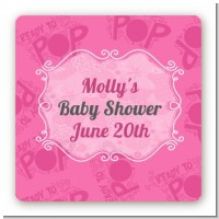 She's Ready To Pop Pink - Square Personalized Baby Shower Sticker Labels