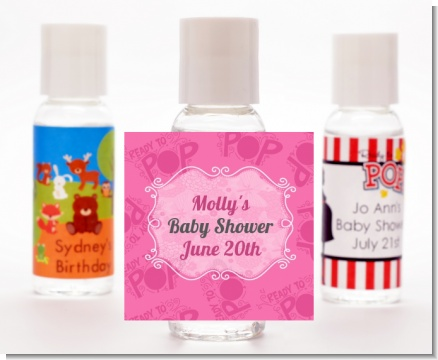 She's Ready To Pop Pink - Personalized Baby Shower Hand Sanitizers Favors