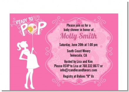 She's Ready To Pop Pink - Baby Shower Petite Invitations