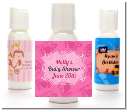 She's Ready To Pop Pink - Personalized Baby Shower Lotion Favors
