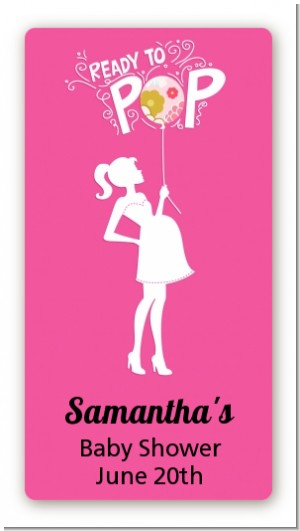 She's Ready To Pop Pink - Custom Rectangle Baby Shower Sticker/Labels