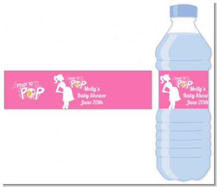 She's Ready To Pop Pink - Personalized Baby Shower Water Bottle Labels